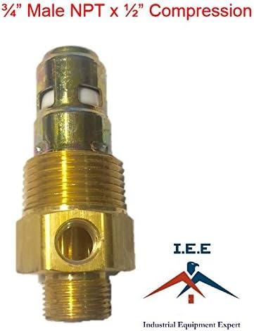 CNBTR 1//2PT G3//8 0.036 Gold Air Compressor Check Valve Male NPT Pipe Thread Compression Brass One Way Check Valve
