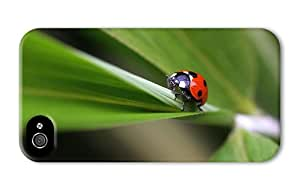 Hipster iPhone 4 customize cases ladybug on plant PC 3D for Apple iPhone 4/4S