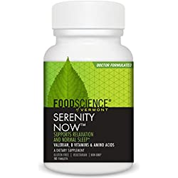 FoodScience of Vermont, Serenity Now, Calming Formula to Support Relaxation, Stress Reduction and Normal Sleep Patterns, 90 Count Tablets
