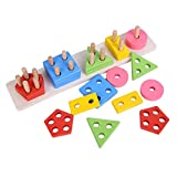 CraftDev Wooden Intellectual Geometric Shape Matching Five Column Blocks Educational & Learning Toys