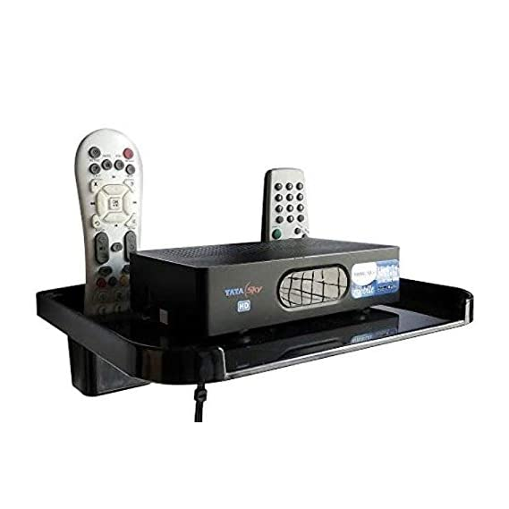 Digway Plastic Set Top Box Stand with Double Remote Holder (Black)