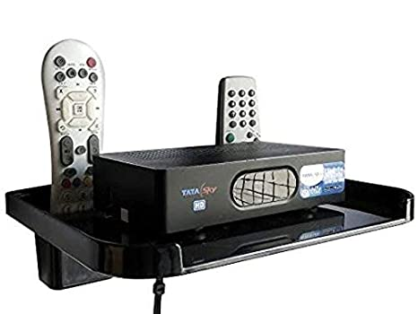 Digway Plastic Set Top Box Stand with Double Remote Holder (Black) Wall Plates at amazon