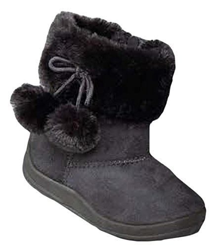 Kali Footwear Little Girl's Bany FlatPom PomAnkle Boot, Dark Grey 9