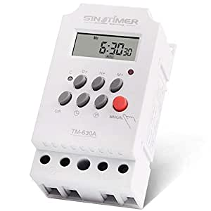 SINOTIMER 12V 30A Semanal 7 días Control programable del temporizador del relé del temporizador digital para aparatos eléctricos con reloj despertador de ...