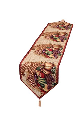 HomeCrate Fall Harvest Collection - Tapestry Cornucopia with Pumpkins and Fruits Design - 13