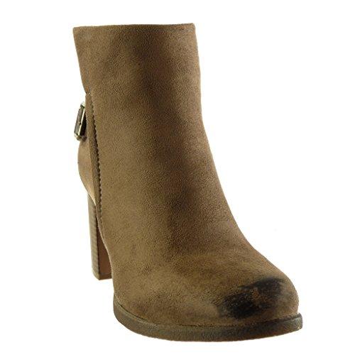 Angkorly - Zapatillas de Moda Botines stile vendimia mujer Hebilla tanga Talón Tacón ancho alto 8 CM Caqui