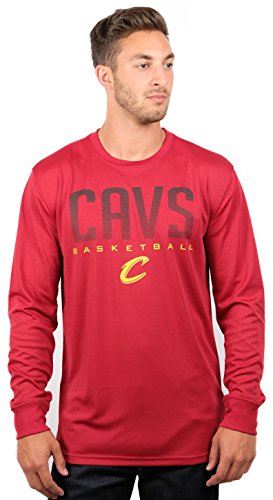 fan products of NBA Men's Cleveland Cavaliers T-Shirt Performance Long Sleeve Pullover Tee Shirt, Large, Red