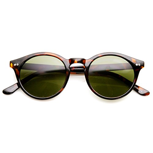 zeroUV - Vintage Inspired Small Round Circle Key Hole Retro P3 Sunglasses with Rivets - Key Hole Vintage