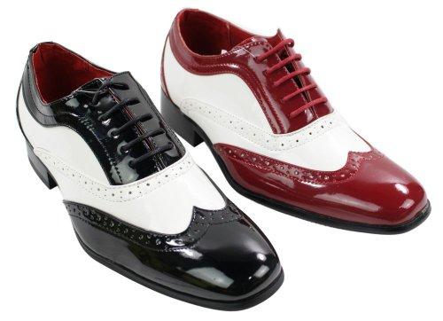 Herrenschuhe Italienisches Design Schwarz Rot Weiß Geschnürt Leder Glänzend Muster Schwarz