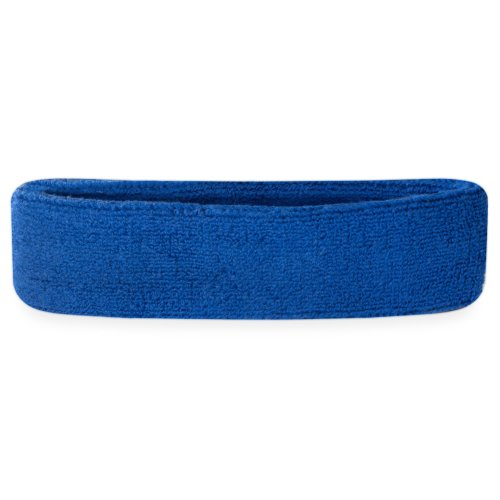 Suddora Head Sweatbands - Athletic Cotton Terry Cloth Headbands for Sports (Blue)