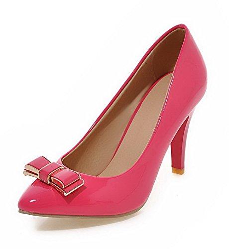 AllhqFashion Damen Ziehen auf Stiletto PU Leder Spitz Zehe Pumps Schuhe Pink
