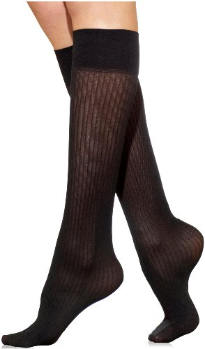 Silkies Women's Classic Ribbed Trouser Socks -Regular Black