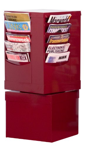 Durham 409-55 Burgundy Cold Rolled Steel 20 Pocket Rotary Literature Rack, 14-1/8