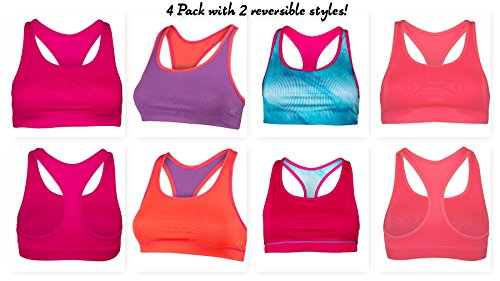 Super Premium Sports Bra - Assorted Colors and Styles (Large- 4 Pack, SPB36)
