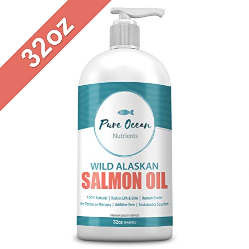 Wild Alaskan Salmon Fish Oil for Dogs & Cats 32 OZ | Natural Liquid Supplement with Omega 3's to Support Joint, Heart, and Immune Health | Essential Fatty Acids Promote a Shiny Coat & Healthy Skin