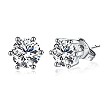 Joyfulshine 925 Sterling Silver Earrings Cubic Zirconia Classic Stud Earrings for Women Ladies Girls
