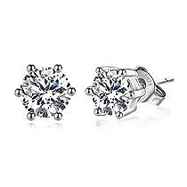 Joyfulshine 925 Sterling Silver Earrings Cubic Zirconia Classic Stud Earrings for Women Ladies Girls