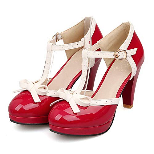 Lucksender Fashion T Strap Bows Womens Platform High Heel Pumps Shoes 9B(M)US Red