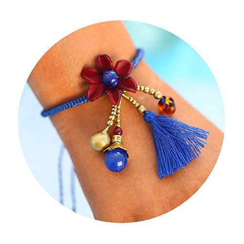 (17mile Blue Braided Rope Bell Flower Handmade Bracelet Waterproof Wrap Boho Bead Charm Tassel Bracelet Women Girls )