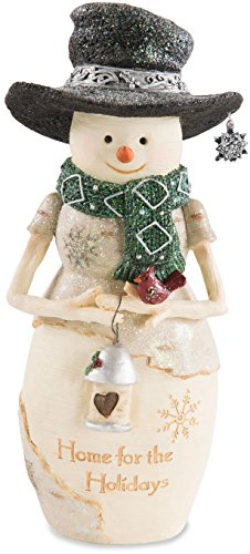 Pavilion Gift Company Pavilion-Home for The Holidays-7.5 Inch Collectible Holding A Lantern Snowman Figurine Beige