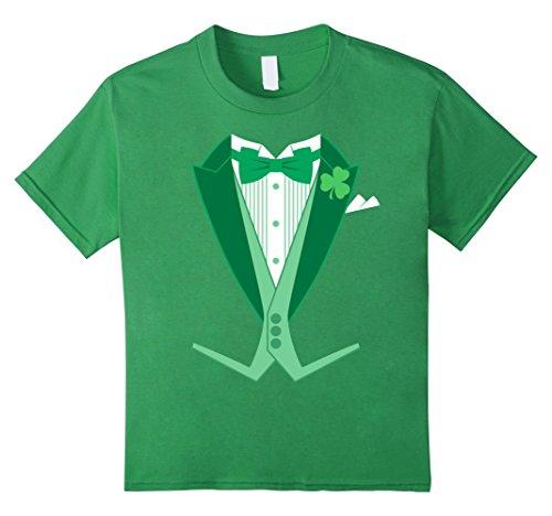 [Kids St. Patrick's Day Costume Tailcoat Tuxedo T-Shirt 12 Grass] (Womens Tailcoat Costume)