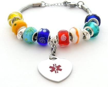 Multi-color Beaded Style Medical ID Bracelet Free Engraving