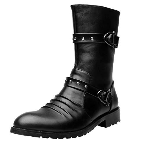 Giles Jones Combat Boots Men Autumn Winter Slip-on Wear-Resisting Motorcycle Boots