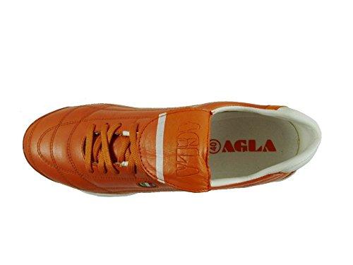AGLA - Zapatillas de fútbol sala de Piel para hombre media Arancione