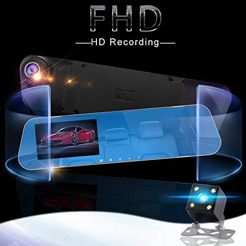 Monland 4.3 Pulgadas C/áMara Dvr 1080P HD del Coche C/áMara C/áMara Doble De Espejo Retrovisor Grabaci/óN Doble Grabadora De Conducci/óN