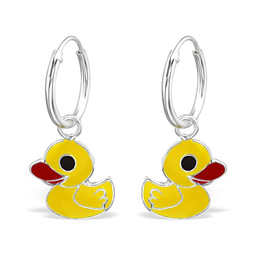 Price comparison product image 925 Sterling Silver Hypoallergenic Yellow Ducks on Endless Hoop Earrings for Girls 27560
