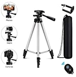 Eocean Tripod, 50-inch Video Tripod for Cellphone and Camera, Universal Tripod with Wireless Remote & Cellphone Holder Mount, Compatible with iPhone Xs/Xr/Xs Max/X/8/Galaxy Note 9/S9/Huawei/Google