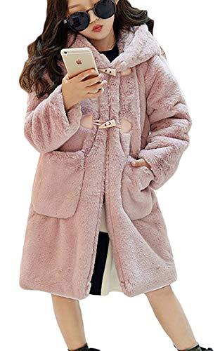 Girls Fur Coat Faux Fur Coats Duffle Hooded Long Sleeve Thicken Jacket Winter Warm Coat10-11Y=Tag Size 150 Light Pink ()