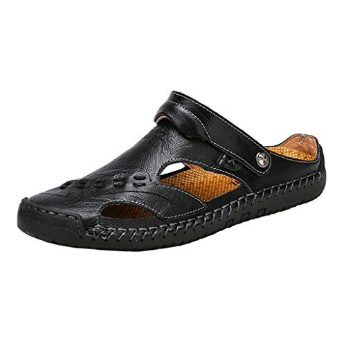 Leather Sandals for Men 2019 New Casual Lightweight Hiking Beach Water Shoes (US:7.5, Black 4) (Iv Leather)