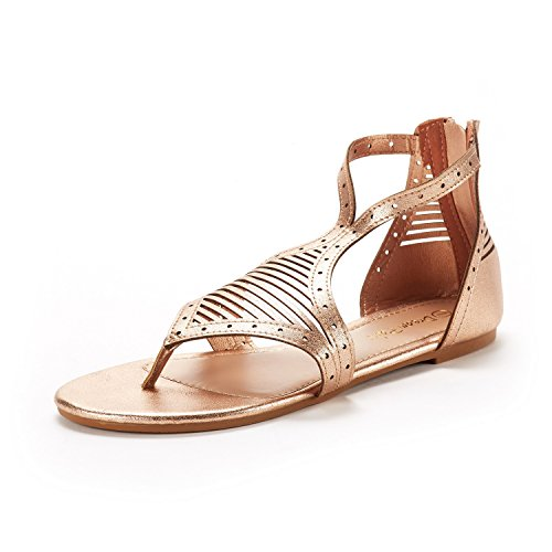 DREAM PAIRS Women's Rose/Gold Gladiator Flat Sandals Size 7 M - Gold Sandal Women 03