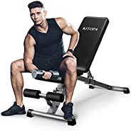 Kitopa Weight Bench - Adjustable Workout Bench for Home Gym Foldable Exercise Bench for Full Body Strength Tra