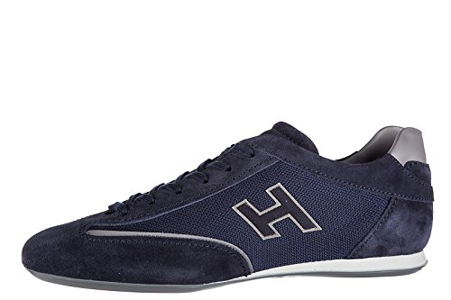Scarpe Da Uomo Hogan Sneakers In Camoscio Sneakers Olympia Slash H Flock Blu