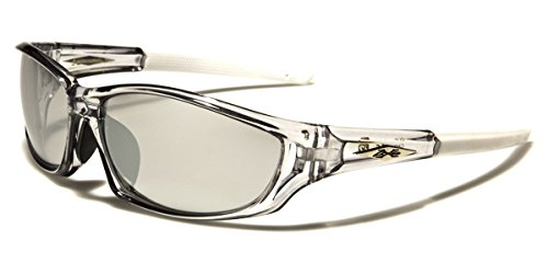 X-Loop Men's Frosted Clear Frame Colorful Wrap Around Baseball Cycling Running Sports - Mirrored White Sunglasses