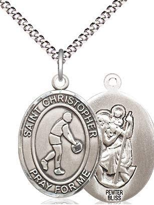 Christopher Medal in Fine Pewter 3//4 tall Basketball St 18 Rhodium Plated Clasp Chain