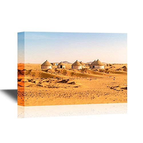 Nubian Village (Watercolor Style Canvas Wall Art Painting Pictures Prints - Nubian Village on The Way from Dongola to Khartoum in Sahara Desert - Gallery Wrap Modern Home Decor Framed Ready to Hang - 20x32 inches)