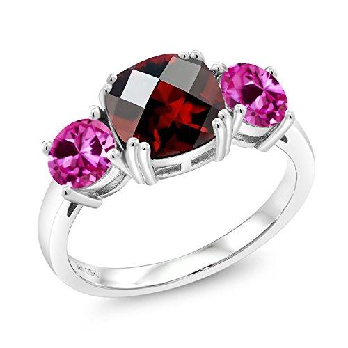 3.50 Ct Cushion Checkerboard Red Garnet Pink Created Sapphire 925 Silver Meghan (Garnet Pink Sapphire)