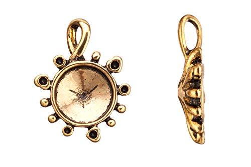 (drop/pendants, antique-gold finished twist bail round rivoli setting 31.38x23.8mm fits 15mm rivoli and shallow pavilion crystals Swarovski crystals)
