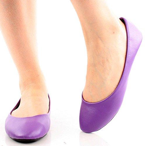 Femmes Nouvelle Mode Ballerine Ballet Plat Base Bout Rond Sexy Confort Doux Slip Sur Chaussures Violet