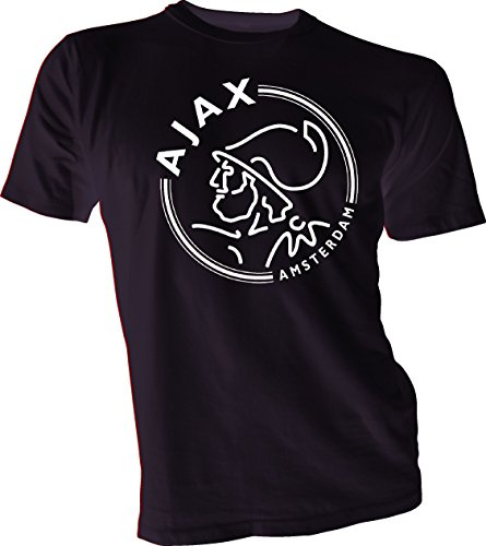 Gildan AFC Ajax Amsterdam Football Club Soccer T-Shirt White Logo Black XL