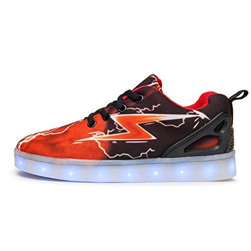 Plan B Men's LED Light Up Fashion Sneakers Breathable Shoes For Men-(Lightning-red-14 B(M) US Women/10.5 D(M) US Men)