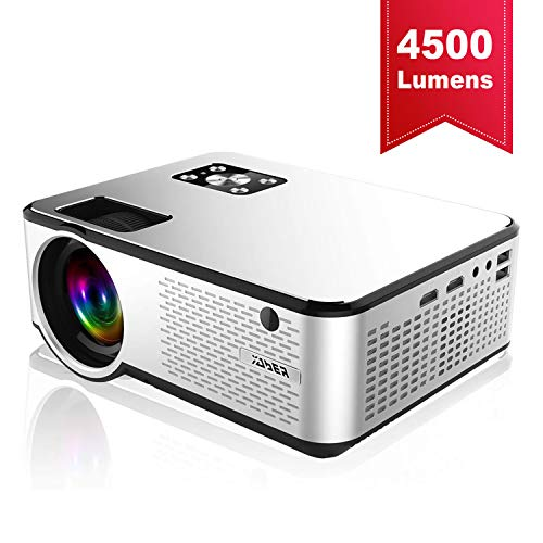 YABER Portable Projector with 4500 Lumen Full HD 1080P 200' Display Supported, LCD LED Home & Outdoor Projector Compatible with Fire TV Stick/Smartphone/HDMI/VGA/AV/USB (White)