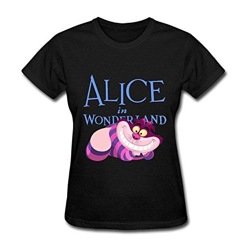 ZEKO Women's T-shirts Alice In Wonderland Cheshire Cat Size XL Black]()