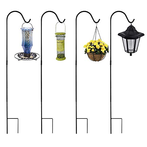 Shepherd Hook Hanger Garden Stake, 4 Pack 48 Inch Strong Rust Resistant Steel Outdoor Patio Hook for Hanging Plants Flower Basket, Bird Feeders, Pathway Light, Solar Lantern, Wind Chimes by HHXRISE