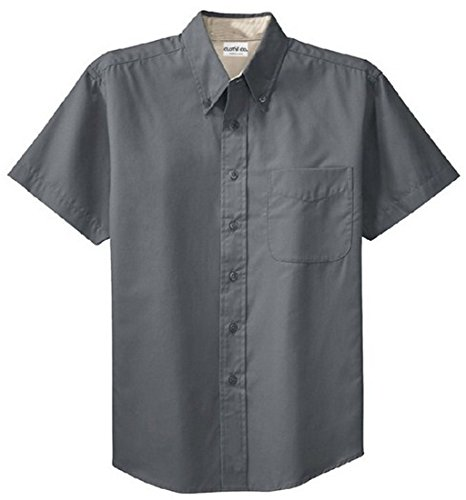 (Clothe Co. Mens Short Sleeve Wrinkle Resistant Easy Care Button Up Shirt, Steel Grey/Light Stone, XL)
