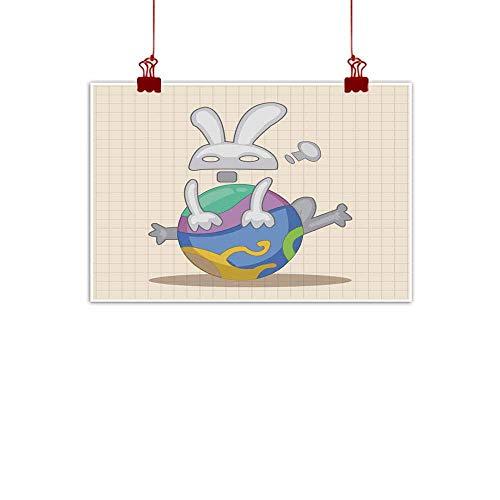 "Mannwarehouse Art Oil Paintings Easter Rabbit Theme Element Vector eps Canvas Prints for Home Decorations 28"" Wx20 L"