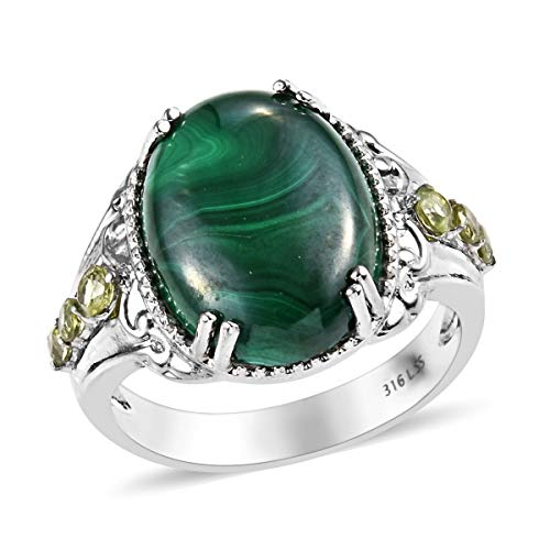 (Shop LC Delivering Joy Statement Ring Stainless Steel Malachite Peridot Jewelry for Women Size 8)
